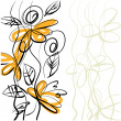 Art sketching floral vector background — 图库照片