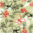 Stock Photo: Art sketching floral seamless pattern vector background