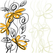 Art sketching floral vector background — Stock Photo