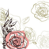 Art sketching roses vector background — Stock Photo