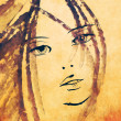 Art sketching beautiful girl face — Foto de Stock