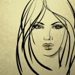 Art sketching beautiful girl face — Photo