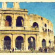 Art background with europen antique town, Coliseum - Stock Photo