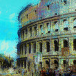 Art background with europen antique town, Coliseum — Stock Photo #16808557