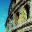 Art background with europen antique town, Coliseum — Stock fotografie