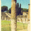 Art background with europen antique town, Pompeii — 图库照片