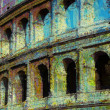 Art background with europen antique town, Coliseum - Lizenzfreies Foto