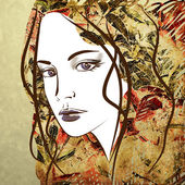 Art sketching beautiful girl face — Stock Photo
