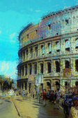 Art background with europen antique town, Coliseum — Zdjęcie stockowe