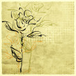 Stock Photo: Art sketching flowers on sepibackground