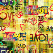 Stock Photo: Art vintage graffiti pattern background with love