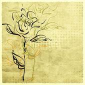 Umění kreslit květiny na sépiový pozadí — Stock fotografie