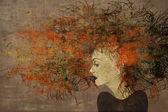 Art painting beautiful girl face — Stock Photo