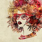 Umění kreslení tvář krásná dívka — Stock fotografie