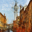 Stock Photo: Art sketching background with street in Venice, Italy