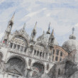 Art watercolor background with facade of St Mark's basilica in V — Stock Photo