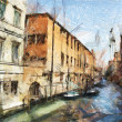 Art sketching background with street in Venice, Italy — Stock Photo