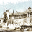 Art sketching background with europen antique town, Italy, Rome — Stok fotoğraf