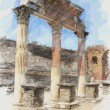Art watercolor background with europen antique town, Pompeii. Th — Foto Stock