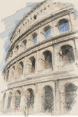 Art watercolor background with europen antique town, Coliseum — Stock Photo