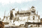 Art sketching background with europen antique town, Italy, Rome — Stock Photo