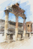 Art watercolor background with europen antique town, Pompeii. Th — Stock Photo