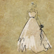 Art sketching beautiful young  bride — Stock Photo