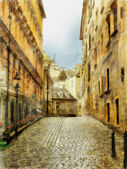 Art background with europens medieval town — Stock Photo