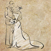 Art sketching beautiful young bride and groom — Stock Photo