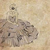 Art sketching beautiful young bride — Stock Photo