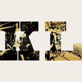 Art sketching set of grunge alphabet, vector background — Stockvektor