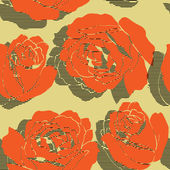 Art stylization roses seamless pattern in orange — Stock Vector