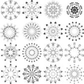 Art set of sign stylized ornamental flowers — Stock Vector