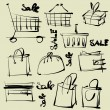 Art sketching set of vector shopping symbols — Stock Vector