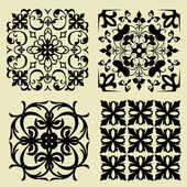 Art set of damask patterns — Stok Vektör