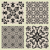 Art vintage vector set of damask pattern background — Stock Vector