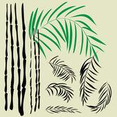Sztuka szkicowania zestaw symboli bambusa wektor — Wektor stockowy
