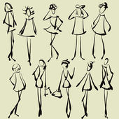 Art sketching set of vector girl symbols — Stock Vector