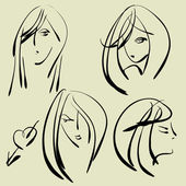 Art sketching set of vector girl face symbols — Stock Vector
