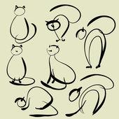 Sanat vektör kediler simgeler kümesi çizimi — Stok Vektör