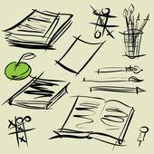Art sketching set of vector school symbols — Stock Vector