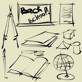 Art sketching set of vector school symbols — Stock Vector