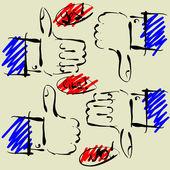 Arte dibujo conjunto de vectores manos símbolos — Vector de stock