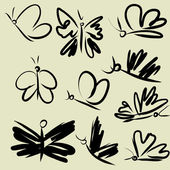Art sketching set of vector floras symbols — Stock Vector