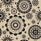 Art abstract graphic stylization black floral seamless pattern — Stock Vector