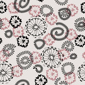 Art abstract graphic stylization floral seamless pattern on sepia background with black circles flowers — Stock Vector