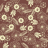 Art abstract graphic stylization floral seamless pattern on brown background with palm leaves — Stock Vector