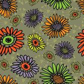 Vintage art floral main dessin fond sans couture en rouge et vert — Vecteur