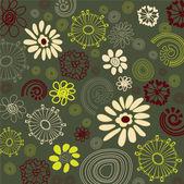 Art sketching vintage floral pattern on green-blue background — Stock Vector