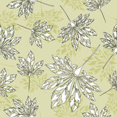 Art vintage floral pattern autumn background with leaves — Stock Vector